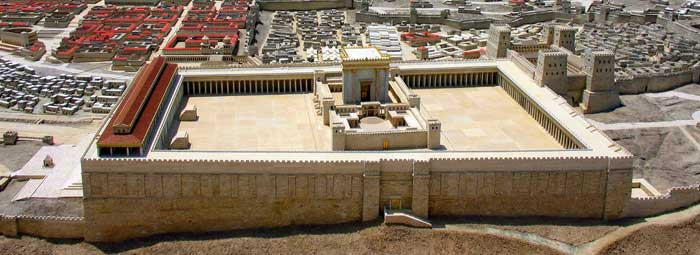 Essai de reconstitution du temple d'Hérode. Coin supérieur droit : citadelle de l'Antonia où demeurent Pilate et sa troupe.